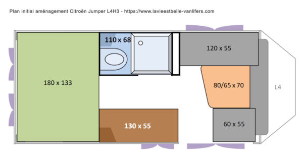 Plan aménagement initial Citroën Jumper L4H3 - La vie est belle-vanlifers