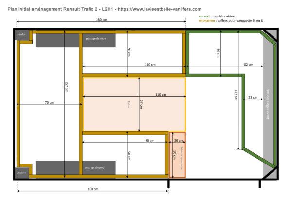 Plan aménagement initial Renault Trafic 2 - L2H1 - La vie est belle-vanlifers