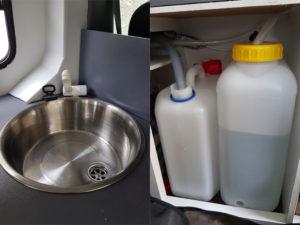 Evier avec robinet contacteur et jerricans eau sale et propre